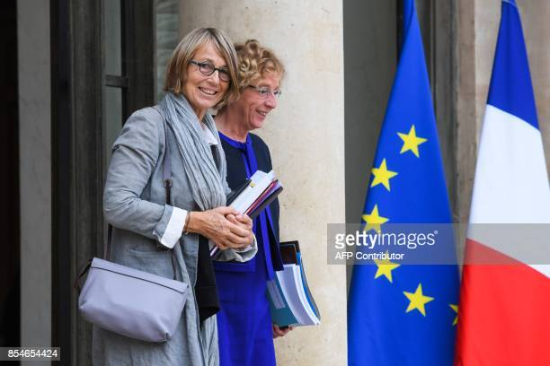 French Culture Minister Francoise Nyssen and French Labour Minister Muriel Pénicaud leave the Elysee palace following the weekly Cabinet meeting on...
