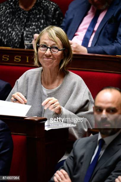 French Culture Minister Francoise Nyssen and French Prime Minister Edouard Philippe attend a session of questions to the government at the National...