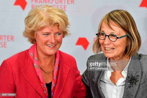 French Culture Minister Francoise Nyssen and Germany's minister of culture Monika Gruetters arrive for the opening of the Frankfurt Book Fair on...