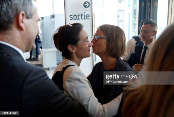 French Culture Minister Francoise Nyssen is welcomed by President of France Televisions Delphine Ernotte Cunci upon her arrival at the Maison de la...