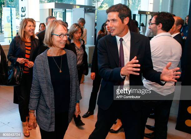 French Culture Minister Francoise Nyssen is welcomed by Radio France President Mathieu Gallet upon her arrival at the Maison de la Radio in Paris on...