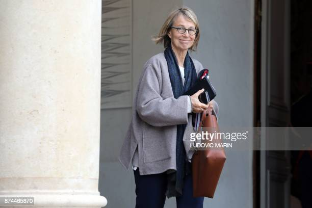 French Culture Minister Francoise Nyssen leaves the Elysee Palace following the weekly cabinet meeting on November 15 2017 in Paris / AFP PHOTO /...