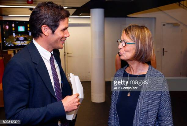 French Culture Minister Francoise Nyssen speaks with Radio France President Mathieu Gallet upon her arrival at the Maison de la Radio in Paris on...