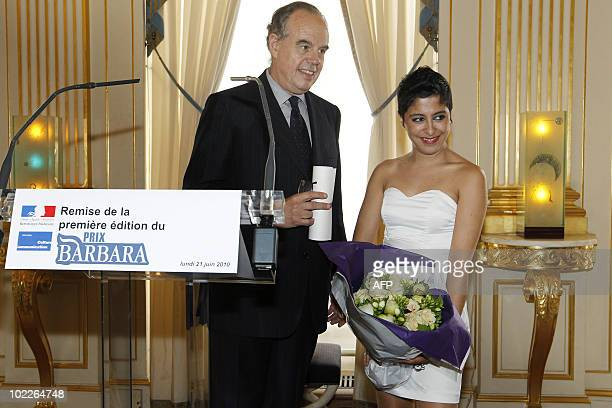 French Culture Minister Frederic Mitterrand awards French singer Carmen Maria Vega Guatemalanborn with French new prize named 'Barbara' as part of...