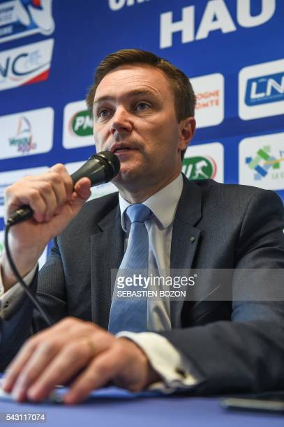 French cycling association President David Lappartient speaks during a press conference during the 2016 French cycling championships on June 26 2015...