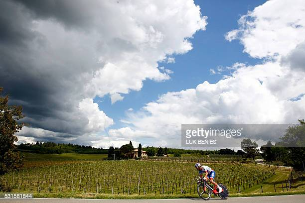 TOPSHOT French cyclist Benoit Vaugrenard of FDJ team cycles during the 9th individual time trial stage of 99th Giro d'Italia Tour of Italy from Radda...