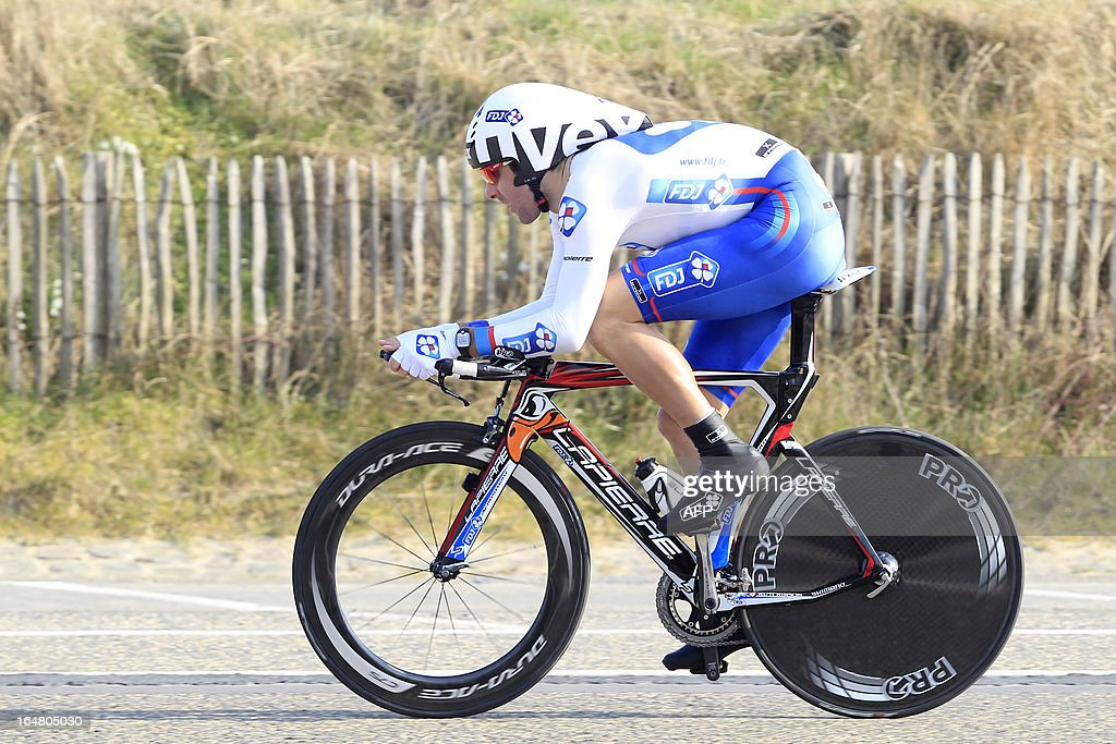 French cyclist David Boucher of FDJ competes in the second part of the third and last stage of the Driedaagse De Panne - Koksijde cycling race, 14.75 km individual time trial in De Panne on March 28, 2013.