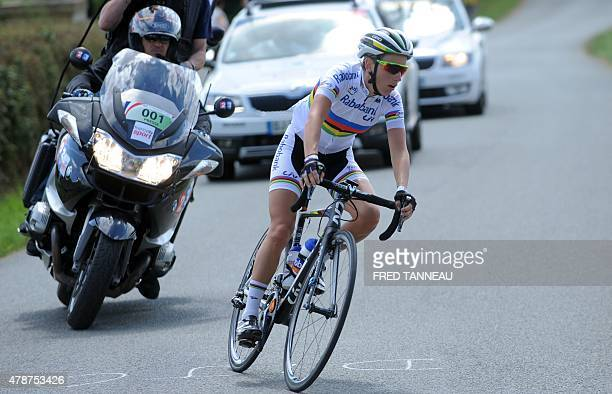 French cyclist Pauline Ferrand Prevot competes during the 2015 French cycling championships on June 27 2015 in Chantonnay western of France AFP PHOTO...