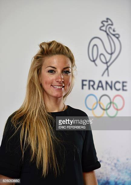 French cyclist Pauline FerrandPrevot poses on April 27 at the Palais Chaillot in Paris during the French Olympic team's launch of their 100day...