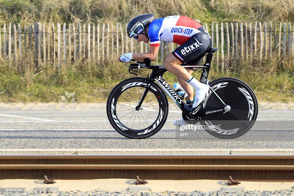 French cyclist Sylvain Chavanel of team Omega Pharma-Quick Step competes during the second part of the third and last stage of the Driedaagse De Panne-Koksijde cycling race, 14,75 km individual time trial in De Panne, on March 28, 2013.