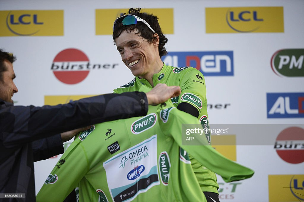 French cyclist Sylvain Chavanel receives the overall points standing leader's green jersey on the podium of the first stage of the 71st Paris-Nice cycling race between Saint Germain en Laye and Nemours, on March 4, 2013.