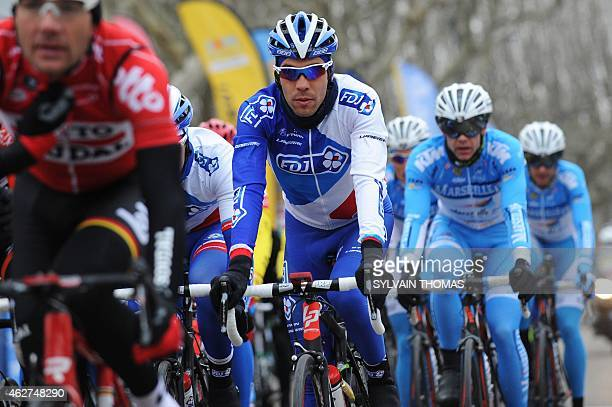 French cyclist Thibault Pinot competes in the 45th Etoile de Besseges cycling race between Bellegarde and Beaucaire on February 4 2015 in Beaucaire...
