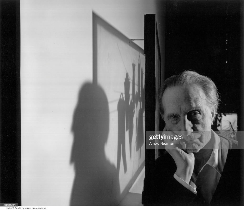 French Dada artist <a gi-track='captionPersonalityLinkClicked' href=/galleries/search?phrase=Marcel+Duchamp&family=editorial&specificpeople=227454 ng-click='$event.stopPropagation()'>Marcel Duchamp</a> poses for portrait January 28, 1966 in New York City. Duchamp is best known for his controversial painting 'Nude Descending a Staircase' which was exhibited at the armory show in 1913.