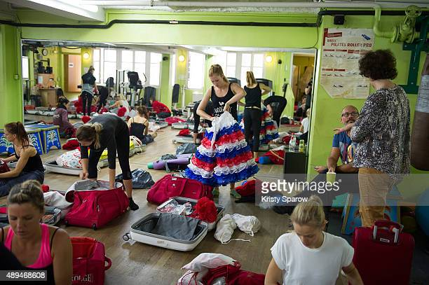 French dancer Audrey prepares her bags in the Moulin Rouge dance studio after The Moulin Dancers' last reheasal prior to them going to NYC The Moulin...