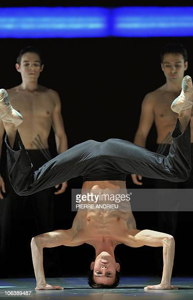 French dancer Guillaume Debut performs during a rehearsal of 'Tetris' by French choregrapher and dancer Anthony Egea on October 30 2010 at the...