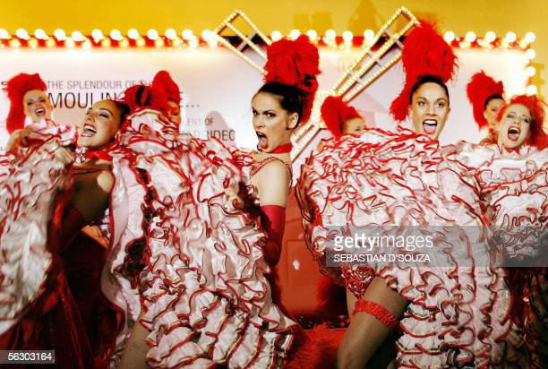 French dancers from Paris's popular cabaret 'Moulin Rouge' perform in Mumbai 30 November 2005 Nearly 20 dancers came to the Indian capital to promote...