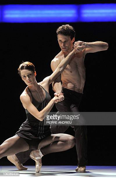 French dancers Stephanie Gravouille and Ludovic Dussarps perform during a rehearsal of 'Tetris' by French choregrapher and dancer Anthony Egea on...