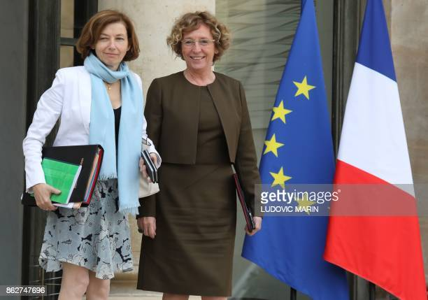 French Defence Minister Florence Parly and French Labour Minister Muriel Pénicaud pose as they leave a Council of Ministers at The Elysee Palace in...