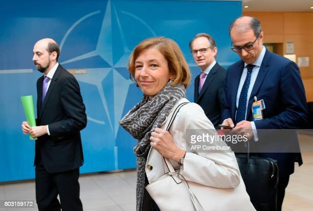 French Defence Minister Florence Parly arrives to attend a Defense Council meeting at NATO Headquarters in Brussels on June 29 2017 NATO defense...
