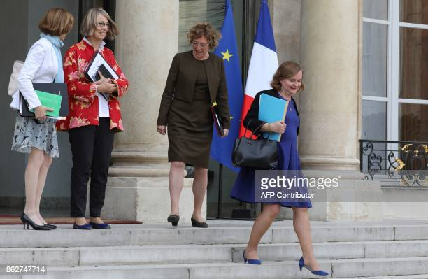 French Defence Minister Florence Parly French Culture Minister Francoise Nyssen French Labour Minister Muriel Pénicaud and French Minister attached...