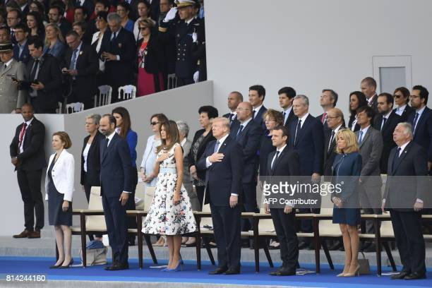 French Defence Minister Florence Parly French Prime Minister Edouard Philippe US President Donald Trump and his wife First Lady Melania Trump French...