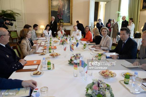 French Defence Minister Florence Parly gestures as she speaks during a meeting with German Defence Minister Ursula von der Leyen European Commission...