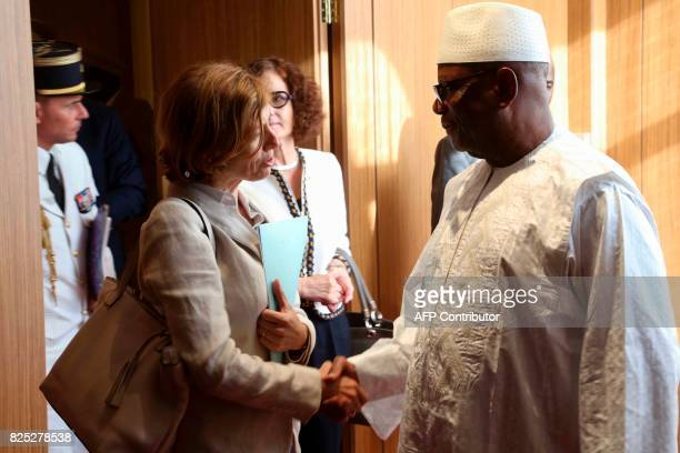 French Defence Minister Florence Parly is welcomed by Malian president Ibrahim Boubacar Keita upon her arrival in Bamako on August 1 as part of a...