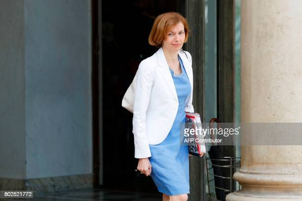 French Defence Minister Florence Parly leaves the Elysee Palace in Paris after the weekly cabinet meeting on June 28 2017 / AFP PHOTO / Patrick...