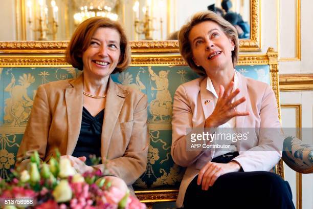 French Defence Minister Florence Parly meets with German Defence Minister Ursula von der Leyen during an annual FrancoGerman Summit in Paris on July...