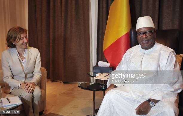 French Defence Minister Florence Parly meets with Malian president Ibrahim Boubacar Keita at the presidential palace in Bamako on August 1 2017...