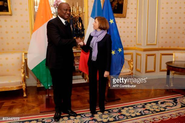 French Defence Minister Florence Parly receives Ivory Coast's Defence minister Hamed Bakayoko on November 10 at the French Ministry of Defence in...