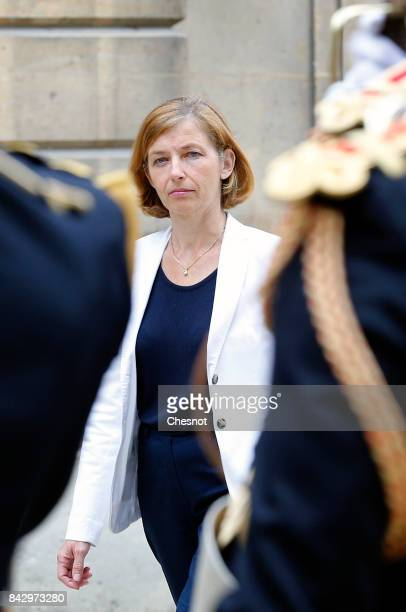 French defence minister Florence Parly reviews an honor guard prior to a meeting with Portuguese defence minister Jose Alberto Azeredo Lopes on...