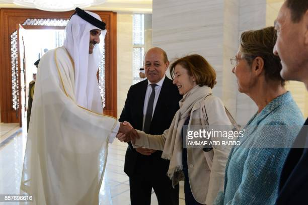 French Defence Minister Florence Parly shakes hands with Qatari Emir Sheikh Tamim bin Hamad alThani as French Foreign Minister JeanYves Le Drian...