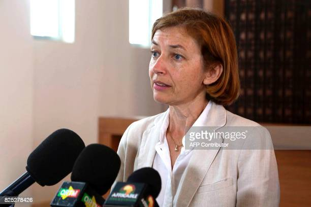 French Defence Minister Florence Parly speaks during a press conference following a meeting with the Malian president in Bamako on August 1 as part...