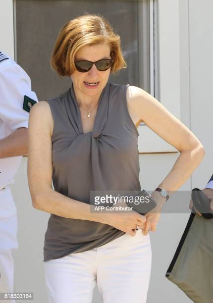French Defence Minister Florence Parly visits a military base in Jordan where French army aircrafts are based on July 18 2017 / AFP PHOTO / Khalil...