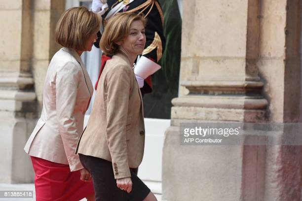 French Defence Minister Florence Parly welcomes Spanish Minister of Defence Maria Dolores de Cospedal as she arrives at the Hotel de Brienne the...