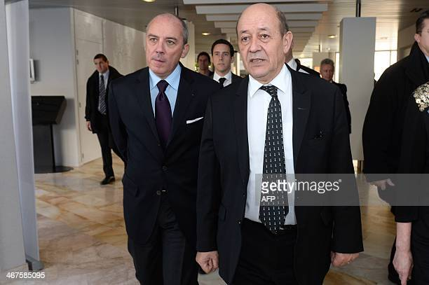 French Defence Minister JeanYves Le Drian and French telecoms group Orange's CEO Stephane Richard visit Orange's Cyber Security Operational Center in...