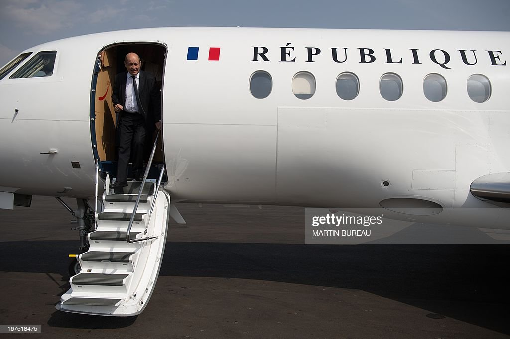French Defence Minister Jean-Yves Le Drian arrives at Bamako's airport, on April 25, 2013. Le Drian arrived in the Malian capital on the first leg of a tour of several countries to prepare for a post-war Mali. Mali called on France's help in January to halt an Islamist advance on Bamako and French and African troops have since pushed the Al-Qaeda-linked militants into desert and mountain hideouts, from where they are staging guerrilla attacks.
