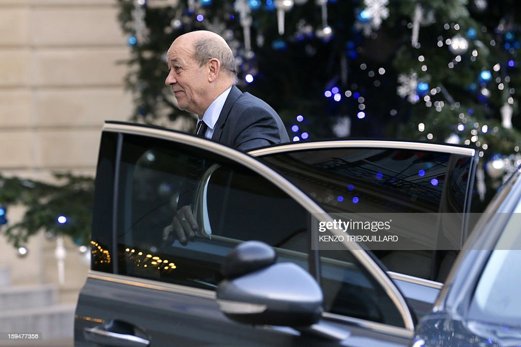 French Defence minister Jean-Yves le Drian arrives at the Elysee Presidential palace in Paris, for a meeting with French President focused on the Malian situation on January 14, 2013. More than 60 Islamists were killed in their bases near the northern Malian city of Gao under intense bombardment by French air power, a security source and residents said today. 'France has attacked Islam. We will strike at the heart of France,' said Abou Dardar, a leader of Movement for Oneness and Jihad in West Africa, an offshoot of Al Qaeda in the Islamic Maghreb (AQIM), speaking to AFP by telephone.
