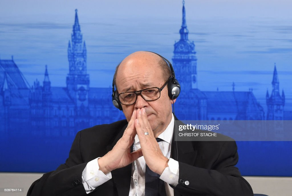 TOPSHOT French defence minister JeanYves Le Drian attends the 52nd Munich Security Conference in Munich southern Germany on February 12 2016 The...