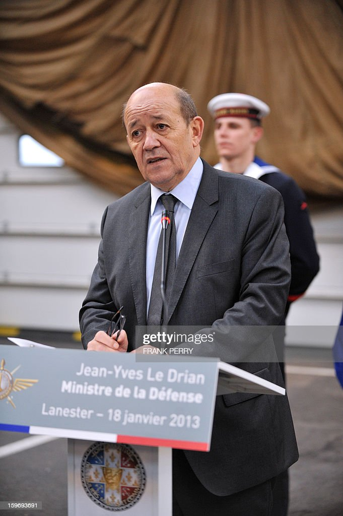 French Defence Minister Jean-Yves Le Drian delivers a speech during his visit to a sniper commando base of the French special forces on January 18, 2013 in the northwestern French town of Lanester.