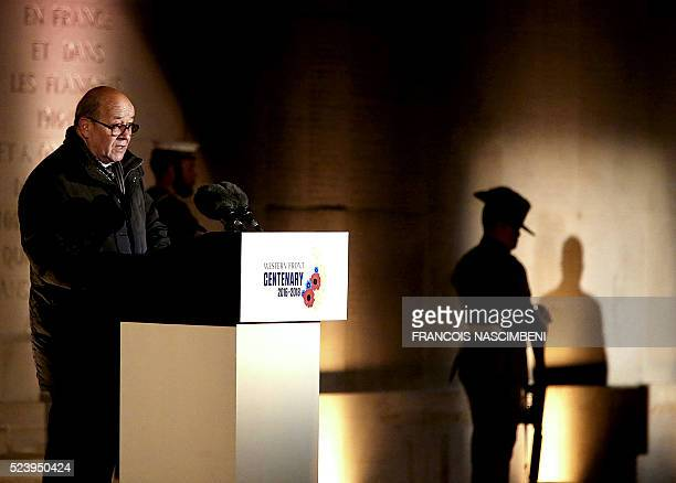 French Defence Minister JeanYves Le Drian delivers a speech during the Anzac day in tribute of Australians and New Zealanders soldiers killed in...