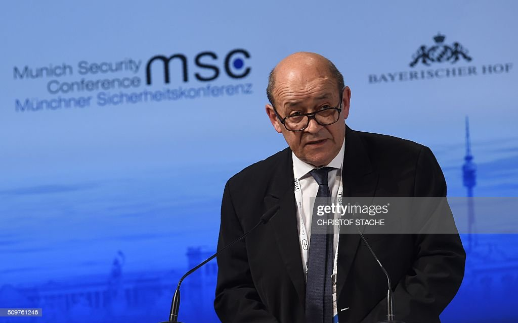 French Defence Minister Jean-Yves Le Drian gives a speech to open the 52nd Munich Security Conference (MSC) in Munich, southern Germany, on February 12, 2016. The Munich Security Conference takes place here until February 14, 2016. / AFP / Christof Stache