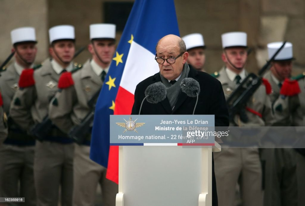 French Defence minister Jean-Yves Le Drian speaks during a national tribute ceremony to late French Staff Sergeant Harold Vormezeele, held in the Hotel des Invalides courtyard on February 22, 2013 in Paris. Vormezeele, a NCO and commando with the 2nd Foreign Parachute Regiment, an elite unit of the French Foreign Legion, was killed on February 19 during an operation in northern Mali against Islamist rebels. He was the second French soldier killed since the start of France's military intervention in Mali on January 11.