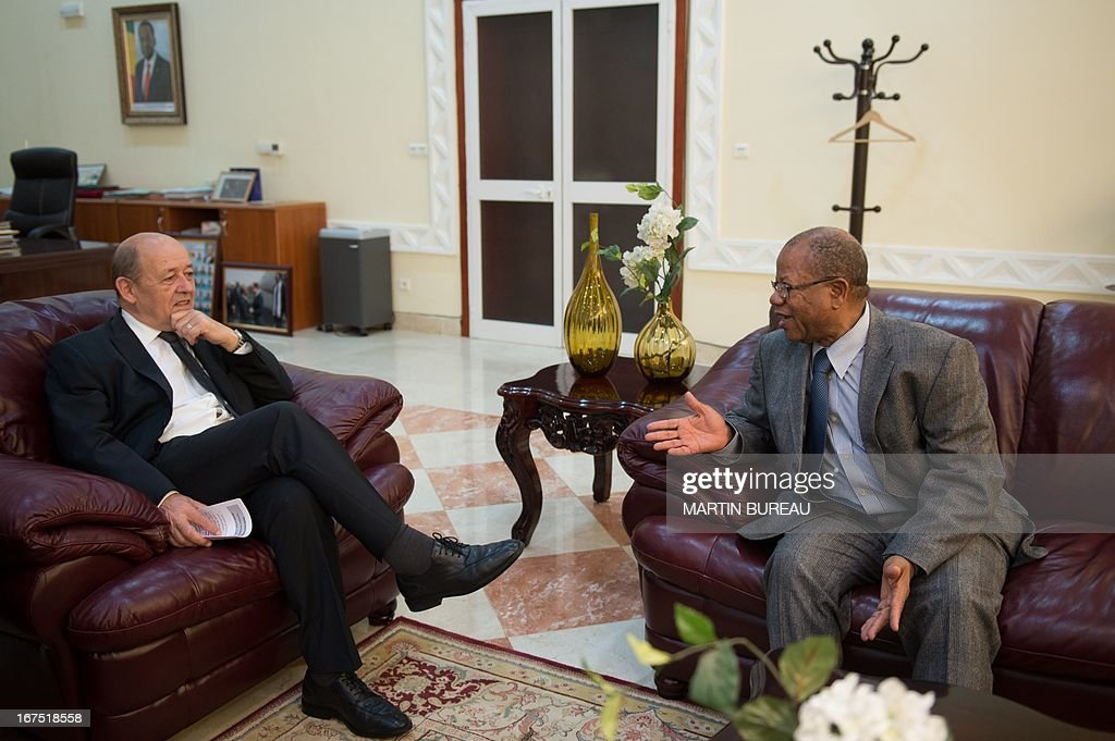 French Defence Minister Jean-Yves Le Drian (L) talks with Mali's Prime Minister Django Cissoko, on April 25, 2013 in Bamako. Le Drian arrived in the Malian capital on the first leg of a tour of several countries to prepare for a post-war Mali. Mali called on France's help in January to halt an Islamist advance on Bamako and French and African troops have since pushed the Al-Qaeda-linked militants into desert and mountain hideouts, from where they are staging guerrilla attacks.