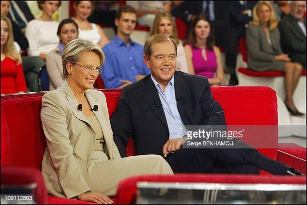 French Defence Minister Michele Alliot Marie On 'Vivement Dimanche' Tv Show On October 1 2003 In Paris France Michele Alliot Marie And Her Companion...
