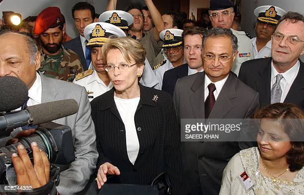 French Defence Minister Michele AlliotMarie arrives at Agha Khan hospital along with Pakistani information minister Nisar Memon to visit the French...