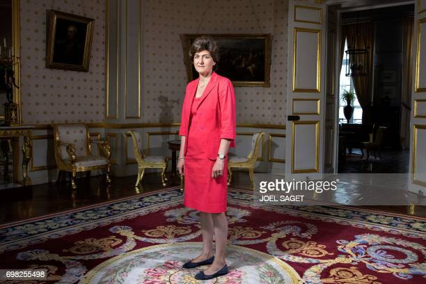 French Defence Minister Sylvie Goulard poses on June 15 2017 in her office in Paris Goulard announced her resignation on June 20 2017 over a fake...