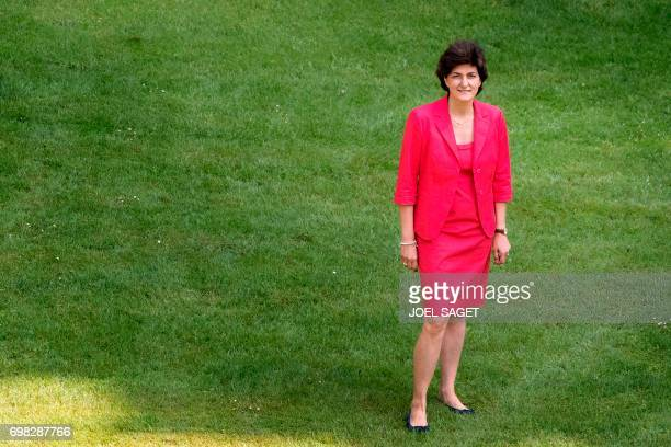 French Defence Minister Sylvie Goulard poses on June 15 2017 in the gardens outside the Defence ministry in Paris Goulard announced her resignation...