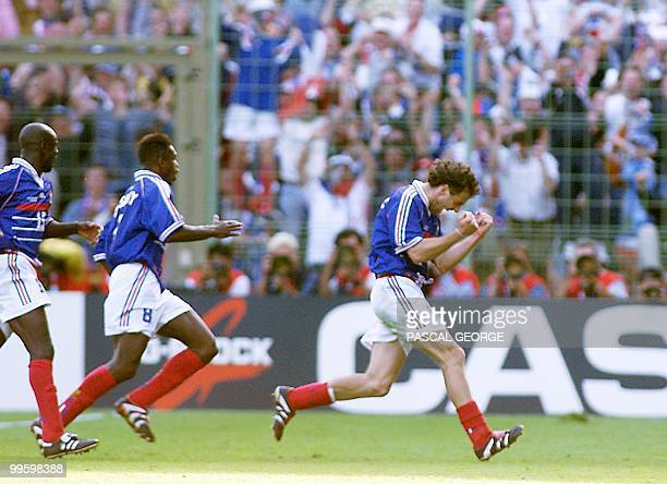 French defender Laurent Blanc jubilates after scoring 28 June at the Felix Bollaert stadium in Lens northern France during the 1998 Soccer World Cup...